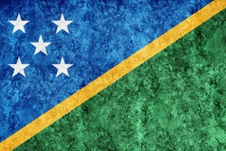 Solomon Islands Metallic flag, Textured flag, grunge flag
