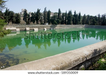 Solomon's Pools at the outskirst of Bethlehem, west bank, israel. these pools are part of the ancient water system of the city of Jerusalem