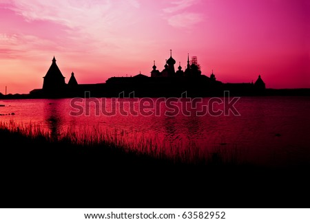 Solovetsky monastery in sunset lighting, Solovky Islands, Russia