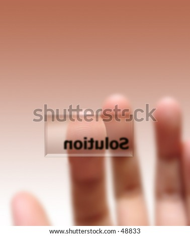 Begriff, Lösungstaste, Fingerabdruck die sichtbar sind auf nah. Weißer Hintergrund auch verfügbar