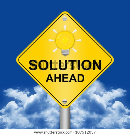 Solution Ahead Road Sign Against A Blue Sky Background