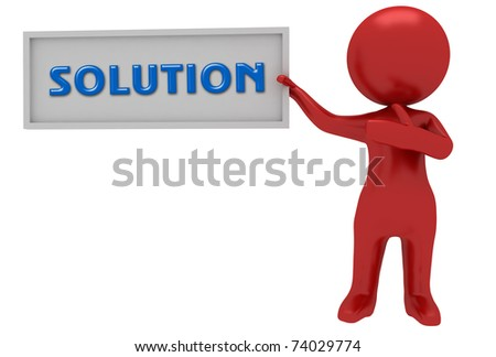 solution billboard with 3d red character