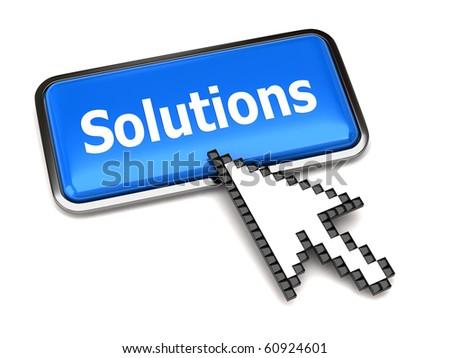 Solution button and arrow cursor - stock photo