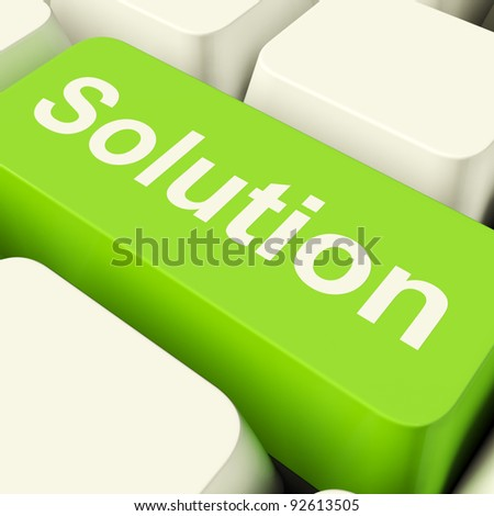 Solution Computer Key In Green Showing Success And Strategy - stock photo