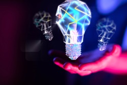 solution concept business idea lamp