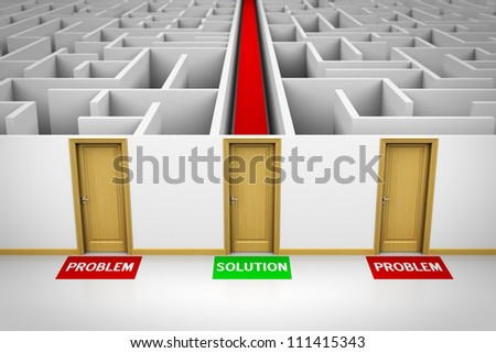 Solution concept showing three closed doors leading to problems and also to a solution.