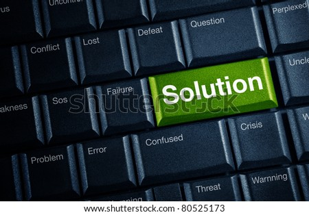 solution concept with green keyboard button