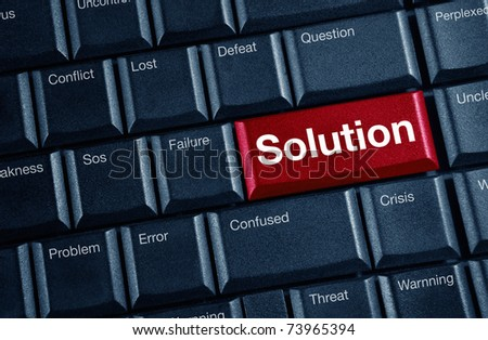 solution concept with red keyboard button