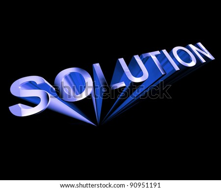 Solution 3d Text In Blue And As Symbol For Ideas And Strategy