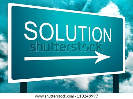 Solution direction road street sign with an arrow at an angle, the sky and clouds