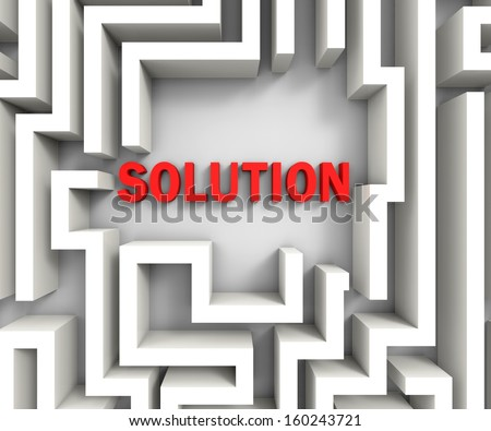 Solution In Maze Shows Puzzle Solved Or Success