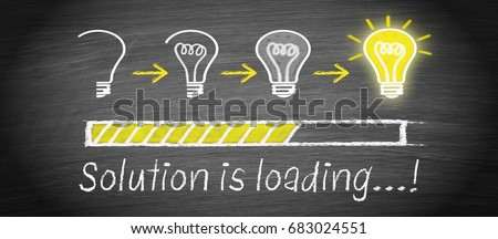 Solution is loading - big idea and creativity light bulb concept