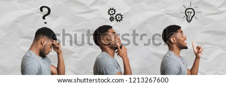 Solution of problem. Black man thinking and finding successful idea, panorama set with facial expressions