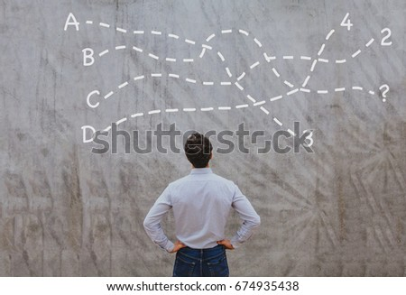 solution or conclusion concept, pensive businessman thinking about decision Foto stock ©