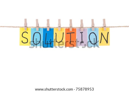 Solution, paper words card hang by wooden peg