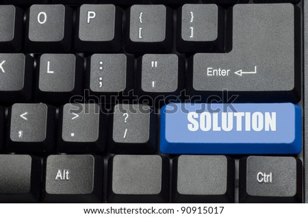 solution word on blue and black keyboard button - stock photo