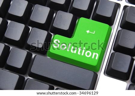 solution written on a computer keyboard enter button