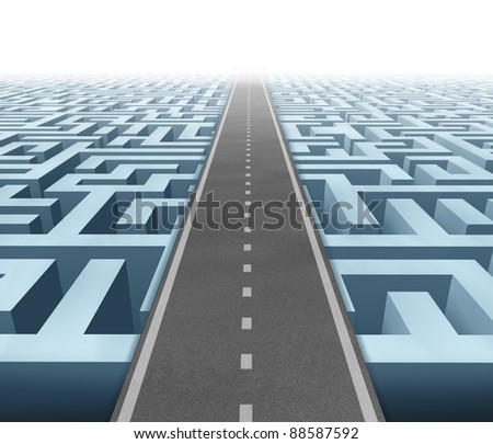 Solutions and success with clear vision and strategy due to careful planning and management building a road bridge over a maze cutting through the confusion and succeeding in business and life.