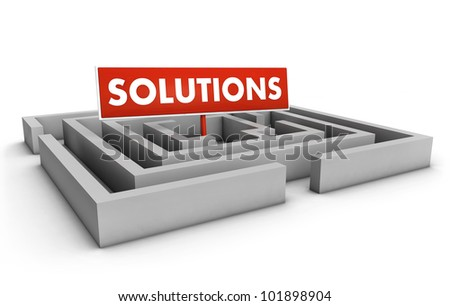 Solutions concept with labyrinth and red goal sign on white background.