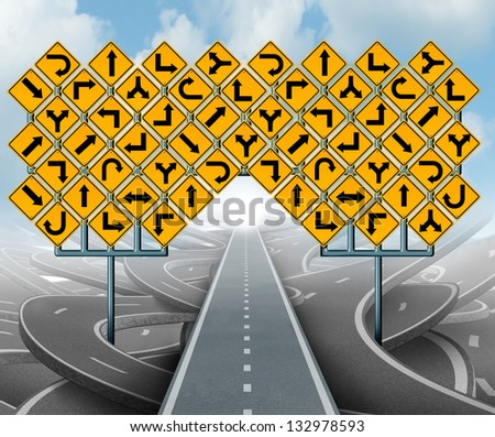 Solutions for business leadership as a clear strategy with a straight path to success choosing the right strategic path with yellow traffic signs cutting through a maze of tangled roads and highways.