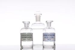 Solutions of ammonium hydroxide and hydrochloric acid.