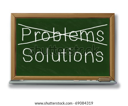 solutions problems crossed out black board chalk