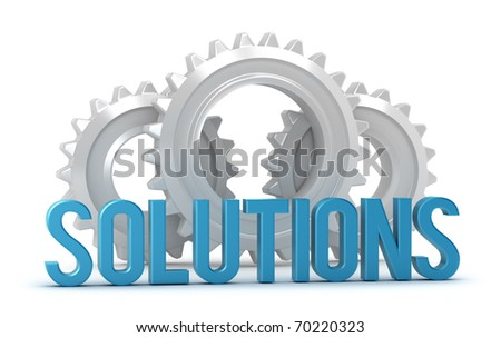 Solutions word with cogs in background isolated on white