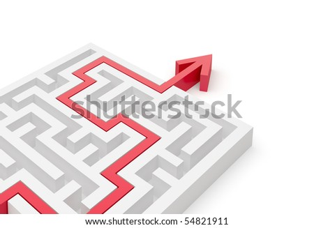 Solved maze puzzle close-up