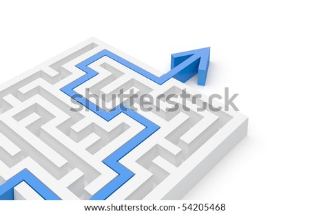 Solved maze puzzle - more variations in portfolio - stock photo