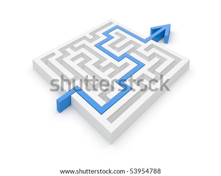 Solved maze puzzle -- see variations in portfolio