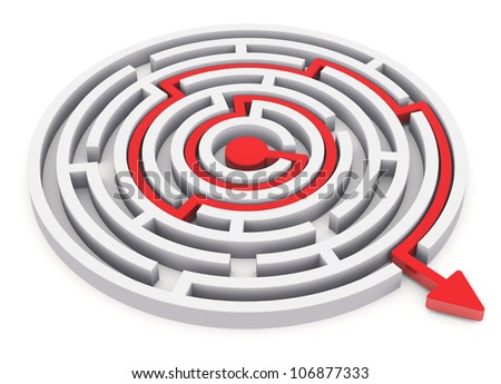 Solved round circle labyrinth with red path with arrow isolated on white background