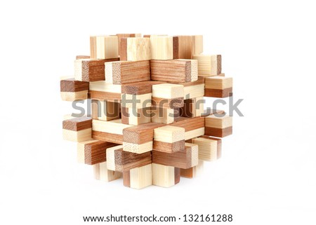 solved wooden puzzle isolated on white background