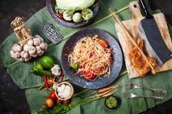 Som Tam Thai -Ingredients Papaya Salad Thai Food Style ,Thai Salad,