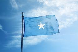 Somalia flag on the mast