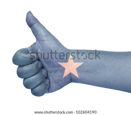 Somalia flag on thumb up gesture like icon