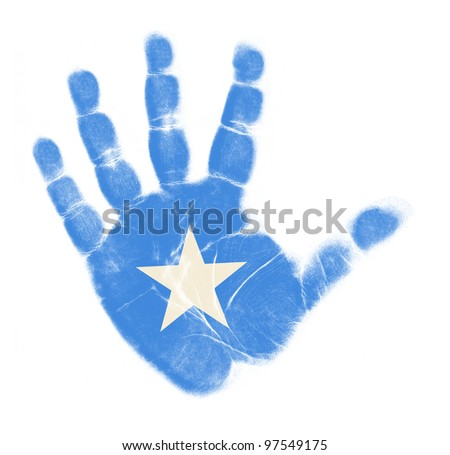 Somalia flag palm print isolated on white background