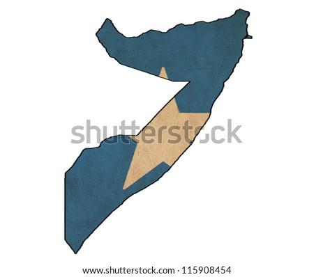 Somalia map on Somalia flag drawing ,grunge and retro flag series