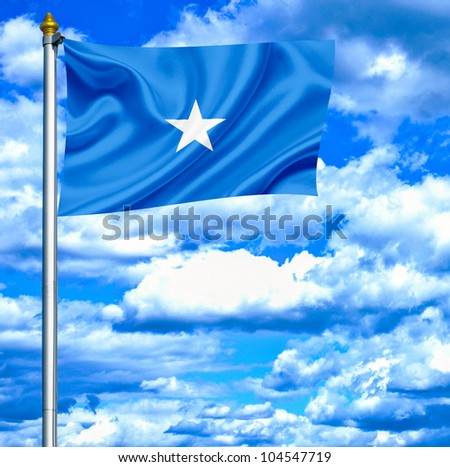 Somalia waving flag against blue sky