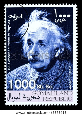 SOMALILAND - CIRCA 2008: A postage stamp printed in Somaliland showing Albert Einstein, circa 2008 - stock photo