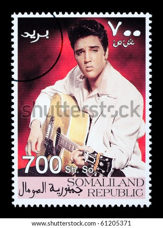 SOMALILAND - CIRCA 2000: A postage stamp printed in Somaliland showing Elvis Presley, circa 2000