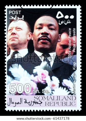 SOMALILAND - CIRCA 2008: A postage stamp printed in Somaliland showing Martin Luther King, circa 2008