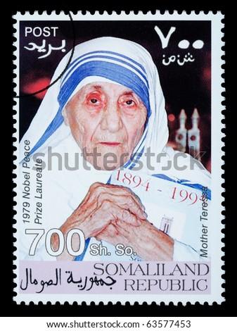SOMALILAND - CIRCA 2008: A postage stamp printed in Somaliland showing Mother Teresa, circa 2008