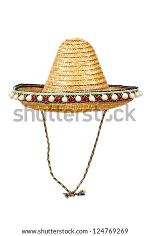Sombrero - traditional Mexican straw hat isolated on white background