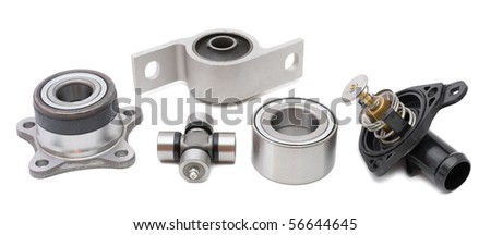 some auto spare parts against white background