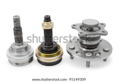 some auto spare parts, over white background