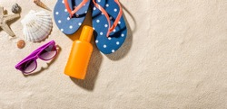 Some beach accessories with copy space on the right side
