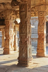 Some beautiful pillar of the Krishna temple in Hampi, a village on the place of the great ancient city Vijayanagara. Karnataka, India