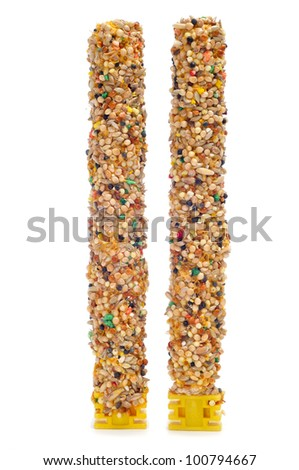 some birdseed bars on a white background