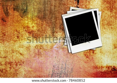 some blank retro photo frame mask on a colorful background