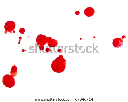 Some blood drops splash over white background